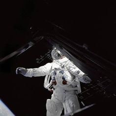 """Dry run. Russell Schweickart, as seen from inside """"Spider,"""" a lunar module, during the Apollo 9 mission. Apollo 9 was an orbital mission that tested many of the procedures and pieces of equipment that would be used in the Apollo 11 mission."""