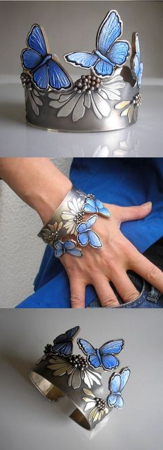 Blue butterfly bracelet - Jolanta Bromke: silver, natural leather, hand painted with water and abrasion resistant paint. Jewelry Art, Unique Jewelry, Silver Jewelry, Jewelry Accessories, Fashion Accessories, Handmade Jewelry, Jewelry Design, Fashion Jewelry, Silver Rings