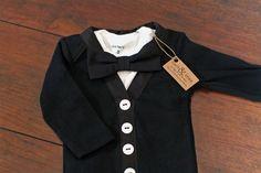 Baby Boy Tuxedo Black Cardigan Bodysuit Black Bow by cocoandbeau, $30.00