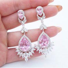 New fashion classy girly 58 ideas Pink Diamond Earrings, Rose Earrings, Teardrop Earrings, India Jewelry, Ear Jewelry, Fashion Show Makeup, Runway Fashion, Hipster Shoes, Pink Bling