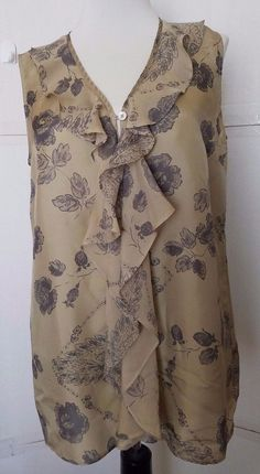 CAbi Sleeveless blouse Tranquil Womens SMALL Silk Floral  Ruffle Tunic Style 149 #CAbi #Blouse #Career