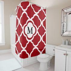 #monogrammed - #Red & White Quatrefoil Personalizable Monogram Shower Curtain
