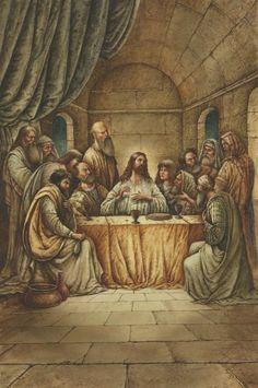 Jesus & His Apostles at The Last Supper ~ artist Val Buchkov Bible Pictures, Jesus Pictures, Jesus Last Supper, Jesus Christ Images, Biblical Art, Canvas Art Prints, Framed Canvas, Framed Prints, Big Canvas