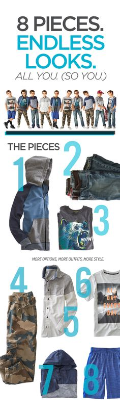 School clothes for boys are easy to shop for with these 8 pieces at great prices. Mix and match back to school outfits to create the first day look outfits for every day of the week. He'll love these comfortable styles, graphic tees, joggers, soft layers and performance gear like Nike, Adidas and Xersion. Don't forget the jeans and hoodies. Dress your little dude with school style that are a definite A+! Click to shop the looks.