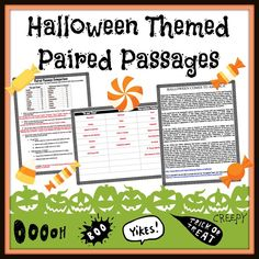 Halloween paired passages for the middle school classroom Middle School Reading, Middle School Classroom, Middle School English, Halloween Short Stories, Small Moment Writing, Humorous Short Stories, Reading Response, Fiction And Nonfiction, Fifth Grade