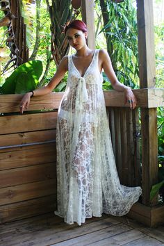 Sheer Lace Nightgown Tie Front by SarafinaDreams great as a beach cover up