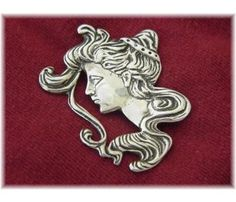 Art Nouveau Flowing Hair Lady Sterling Silver 1960's Revival Brooch - Vintage Jewelry