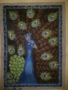 "Handpainted needlepoint ""peacock"""