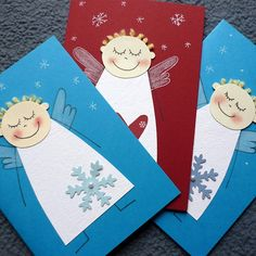 přání ANDÍLEK Diy Christmas Cards, Christmas Crafts For Kids, Xmas Cards, Simple Christmas, Winter Christmas, Kids Christmas, Christmas Decorations, Woodland Christmas, Winter Kids
