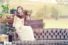 Create a wedding photo scene to add some interest to your album. I love how this photo uses rich and dark colours but it is still light and airy. The old suitcases create a sense of travel and starting something new
