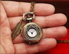 Lotus Pocket Watch Necklace, Hollow Out, with Antique Bronze Feather Pandent Charms