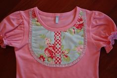 DIY Makeover: Upcycled Pieced Cap-Sleeved T-Shirt w/ Contrasting Ruffle-Edged Bib-Front Inlay + 3-Button Faux Henly Placket