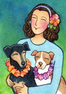 Susan Faye Watercolor --- Cute Puppies Artwork  :)