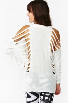 Deep Cut Knit - White in Clothes Tops at Nasty Gal Cut Up T Shirt, Cut Tee Shirts, Cut Sweatshirts, Old Shirts, T Shirt Diy, Ripped Shirts, Fashion Sale, Diy Fashion, Fashion Outfits