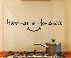 Happiness Homemade Kitchen Dining Room Home Family Adhesive Vinyl Sticker Art Letters Wall Decal Quote Lettering Decor Decoration KI21