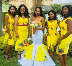 Beautiful Yellow Tsonga Bridesmaid's Dress 2020 African Traditional Wedding Dress, African Fashion Traditional, Traditional Wedding Attire, Wedding Dresses Pinterest, Sexy Wedding Dresses, Wedding Dress Styles, African Wear Dresses, Latest African Fashion Dresses, African Wedding Attire