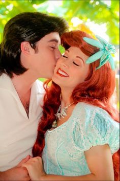 Ariel from Disney's The Little Mermaid, getting a fairy tale kiss from Prince Eric
