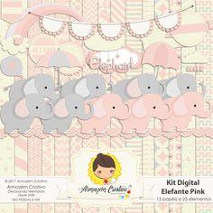 kit digital elefante pink - Armazém Criativo