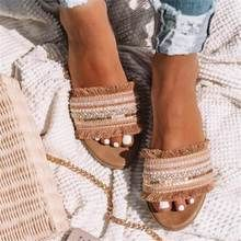 Acquista Women's Fashion Casual Daily Slippers Vintage Woven Flat Slippers Female Bohemia Beach Slippers Plus Size Frauen Hausschuhe su Wish - Lo shopping divertente Trendy Sandals, Flat Sandals, Summer Sandals, Summer Shoes, Beige Sandals, Women's Flats, Trendy Shoes, Summer Outfit, Strap Sandals