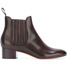 Santoni Glossy Effect Chelsea Boots ($381) ❤ liked on Polyvore featuring shoes, boots, ankle booties, chelsea bootie, beatle boots, leather ankle booties, polishing leather boots and dark brown boots