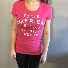 American eagle T-shirt A great condition, few times worn, it's a XS but can fit a S too !! American Eagle Outfitters Tops Tees - Short Sleeve