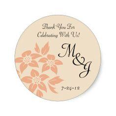 Peach and Cream Damask Wedding Favor Labels Round Sticker