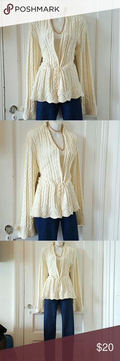 Romantic Crocheted Sweater Slash / Wrap Unique Sweater that ties at the waist and flares out. The knit is absolutely beautiful. Wear with jeans and heels or casual with boots. Or dress it up and go formal! Size XLarge 12/16. Slightly winged out at the bottom arms. Keeping the postage low so you save money! Chaps from Nordstroms. Originally 129.00 #barbarajeannef Chaps by Ralph Lauren  Sweaters