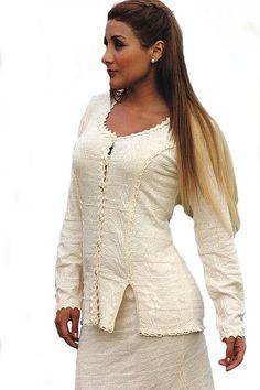 Natur weiße knöpfbare Damen Sommer #Bluse Rundhals seitlich geschlitzt 100% strukturierte #ökologische Pima #Baumwolle