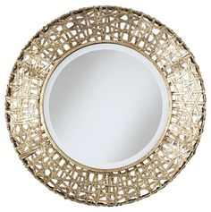 8 Beautiful Mirrors with Good Feng Shui: Woven Round #Mirror #fengshui #homedecor
