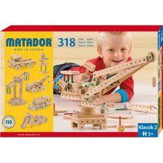 Matador Klassik 2 - Drewniane Klocki Konstrukcyjne dla Dzieci od lat 5. W zestawie znajduje się aż 318 różnych części, w tym narzędzia oraz instrukcja, która zawiera inspirujące podpowiedzi