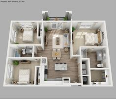 Three Bedroom Apartment 3d Floor Plans