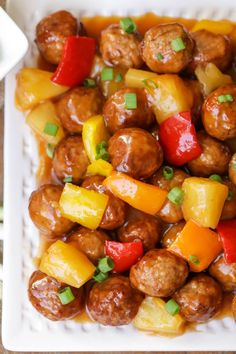 meatball recipes Sweet and Sour Meatballs - frozen meatballs and pineapple chunks covered in a DELICIOUS homemade sweet and sour sauce! A recipe the whole family will love! Sweet N Sour Meatball Recipe, Frozen Meatball Recipes, Sweet And Sour Meatballs, Tasty Meatballs, Crock Pot Meatballs, Meatballs And Rice, Recipes With Meatballs, Jelly Meatballs, Chicken Meatballs