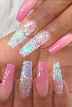 55 Trending And Chic Ombre Coffin Nails Design For You In 2019 Summer - Nail Art Connect Acrylic Nail Designs Glitter, Gel Nail Art Designs, Summer Acrylic Nails, Best Acrylic Nails, Glitter Accent Nails, Ombre Nail, Nails Design, Pearl Nails, Nail Jewelry