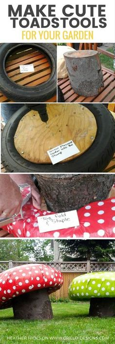 Learn how to make these super cute DIY garden stools using tree trunks and tyres! They look just like mushroom toadstools and are perfect for little bums!