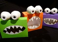 DIY Halloween crafts ... make these adorable Monster boxes ... fill with candy for Halloween Party favors .... on ZiggityZoom ... Kids Educational Website with online Family fun crafts, games, printables & online parenting blog.