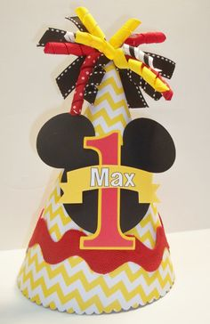 Boys Mickey Mouse Birthday Party Hat by DoodlesDotsnDimples Mickey Mouse Theme Party, Fiesta Mickey Mouse, Mickey Mouse Clubhouse Birthday Party, Mickey Mouse 1st Birthday, Birthday Party Hats, Baby Mickey, 2nd Birthday, Birthday Ideas, Minnie Mouse