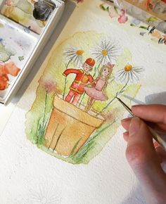 little boy and girl in flowerpot. Little Boy And Girl, Little Boys, Boy Or Girl, Help Me Grow, Gold Ink, Flower Pots, Watercolor Paintings, It Is Finished, Nice