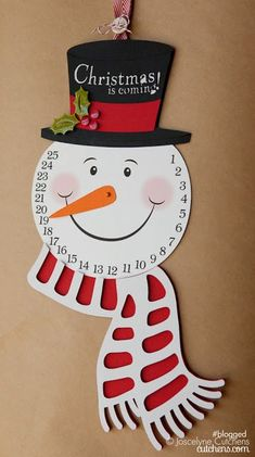 Samantha Walker Imaginary World: Schneemann Advent Print and Cut Tutorial von Joscelyne Cutchens Snowman Christmas Decorations, Snowman Crafts, Christmas Countdown, Christmas Snowman, Winter Christmas, Christmas Gifts, Christmas Ornaments, Christmas Calendar, Christmas Tables