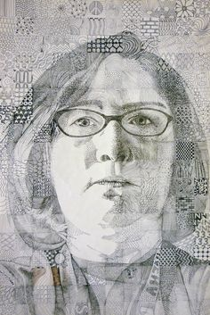 Chuck Close inspired pen & ink textures - Cindy Brunk