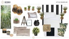 Bold and greenery bedroom decor. Style Board, Put Together, Are You Happy, Greenery, Bedroom Decor, Floor Plans, Make It Yourself, House, Furniture