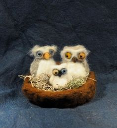 Needle Felted Owl family with baby Waldorf by feltedheirlooms, $45.00