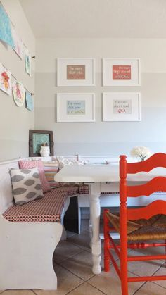 kitchen nook ideas same layout as our kitchen 70s Kitchen, Kitchen Nook, Kitchen And Bath, Kitchen Ideas, Home Renovation, Home Projects, Sweet Home, Dining Room, Layout