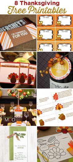 8 Thanksgiving Free Party Printables. LivingLocurto.com