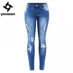 2016 Youaxon EU SIZE Ripped Fading Jeans Women`s Plus Size Stretchy Denim Skinny Distressed Jeans For Women Jean Pencil Pants Plus Size Ripped Jeans, Womens Ripped Jeans, Ripped Skinny Jeans, Distressed Skinny Jeans, Shoes With Jeans, Jeans Pants, Denim Jeans, Jean Délavé, Jeans Price