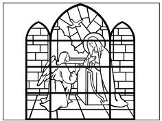 Coloring Book: The Annunciation (stained glass) Catholic Kids, Kids Church, Spring Activities, Art Activities, Colouring Pages, Coloring Books, Children's Church Crafts, Greek Crafts, San Gabriel
