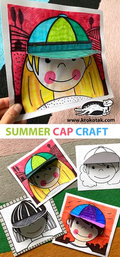 SUMMER CAP CRAFT Fun Crafts For Kids, Craft Activities For Kids, Summer Crafts, Summer Art, Projects For Kids, Art For Kids, Kindergarten Art, Preschool Crafts, Classroom Crafts