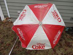 Vintage Coca Cola Soda Patio Vendor Umbrella 6 foot diameter Vinyl w/ base stand find me at www.dandeepop.com