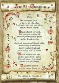 40 50 55 60 65 66 70 75 80 90. Geburtstag Geschenk Urkunde mit persönl. Widmung 10