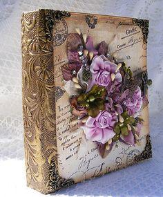 ELITE4U Premade Scrapbooking Album Vintage Shabby Chic Flowers Charms by Toni | eBay