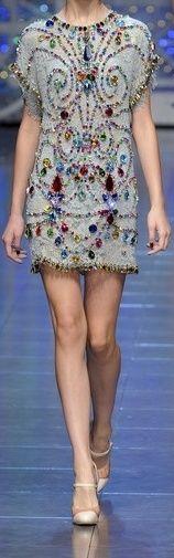 Dolce & Gabbana Spring 2012 Crystal Encrusted Blue Cocktail Dress